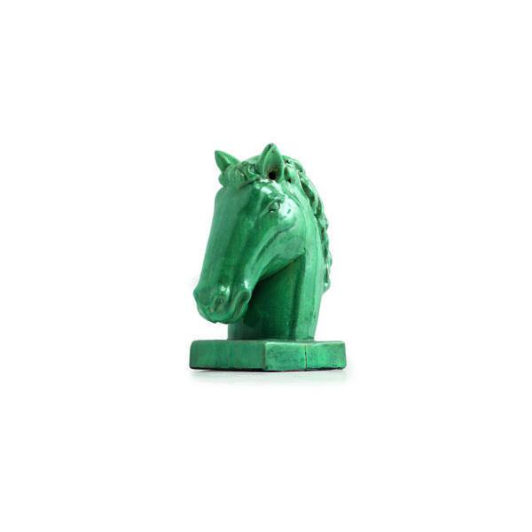OGGETTISTICA Terracotta smaltata New Age Testa cavallo turchese 214236